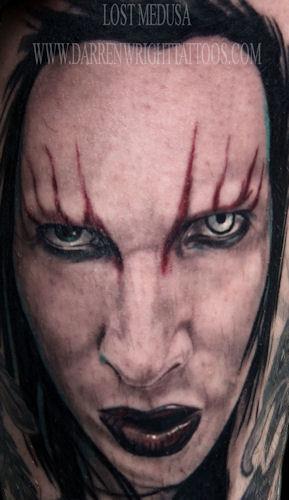 Portrait Marilyn Manson Tattoo by Darren Wright Tattoos