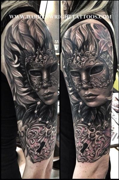 Shoulder Mask Lock Tattoo by Darren Wright Tattoos