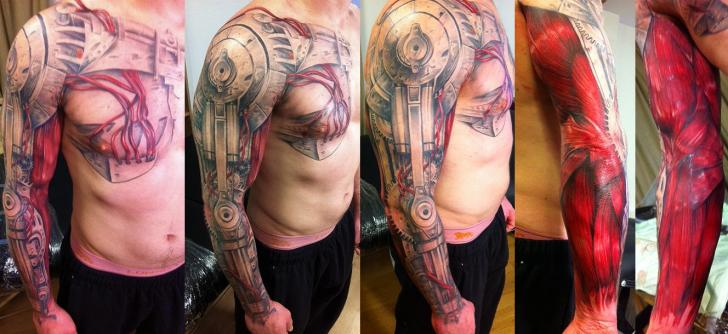 Arm Biomechanical Chest Sleeve Tattoo by Immortal Ink