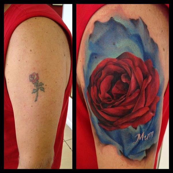 Realistic Rose Cover-up Tattoo by Immortal Ink