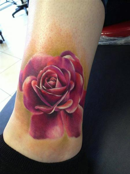 Realistic Leg Flower Tattoo by Immortal Ink