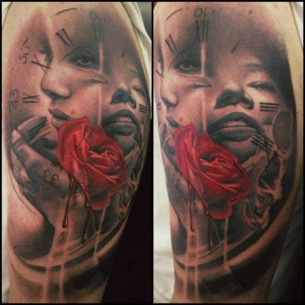 Shoulder Clock Women Rose Tattoo by Immortal Ink