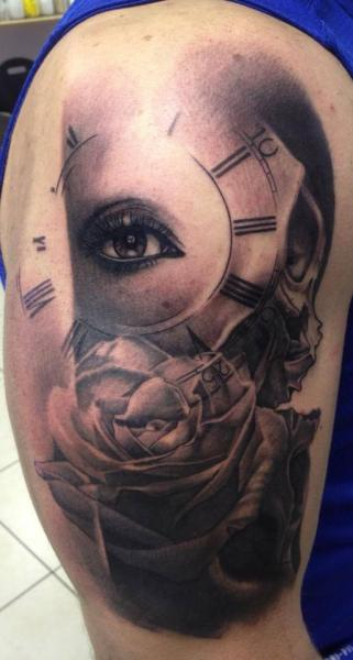 Shoulder Clock Flower Eye Tattoo by Immortal Ink