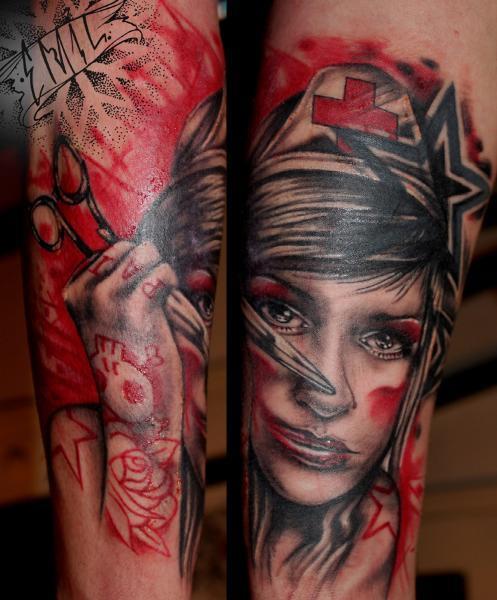 Tatuaje Brazo Fantasy Enfermera por Renaissance Tattoo