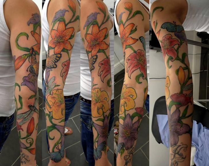 Arm Flower Tattoo by Renaissance Tattoo