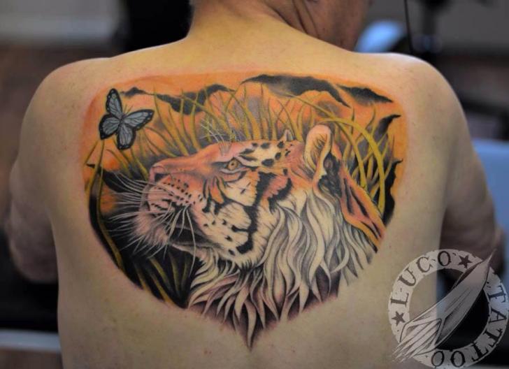 Realistic Back Tiger Tattoo by Renaissance Tattoo