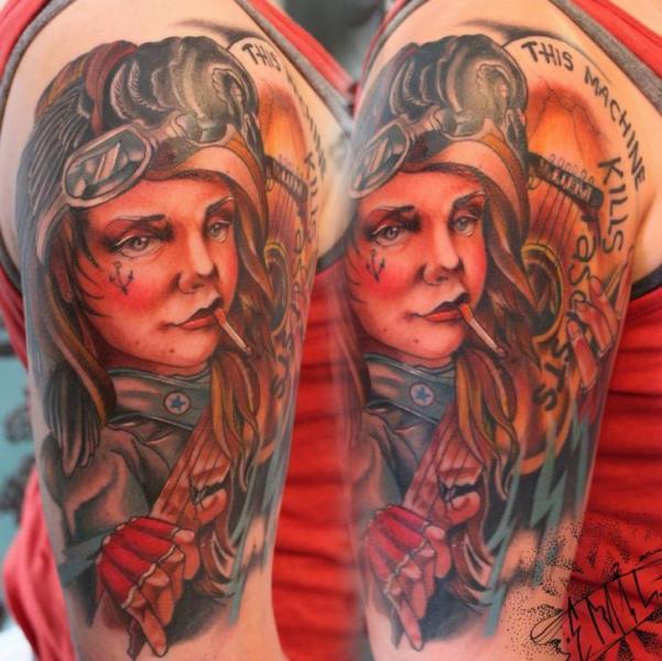 Shoulder Fantasy Character Tattoo by Renaissance Tattoo