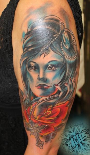 Shoulder Women Tattoo by Renaissance Tattoo