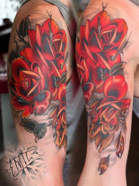 Shoulder Flower Tattoo by Renaissance Tattoo