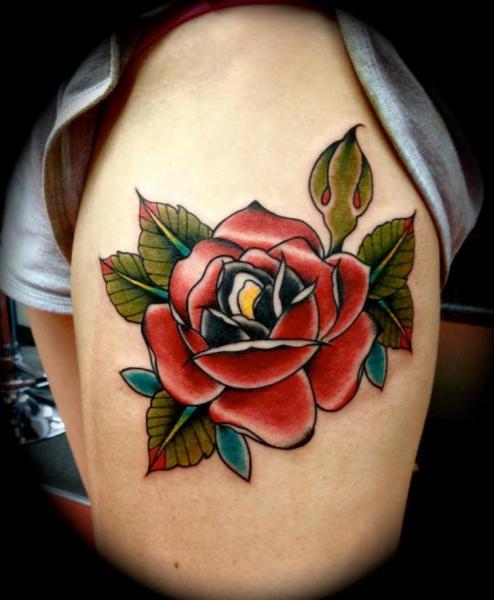 Old School Flower Thigh Tattoo by Renaissance Tattoo