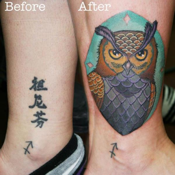 Leg Owl Cover-up Tattoo by Archive Tattoo