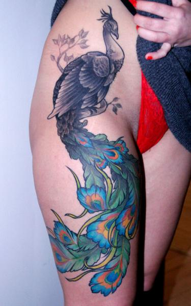 Realistic Leg Peacock Thigh Tattoo by Archive Tattoo
