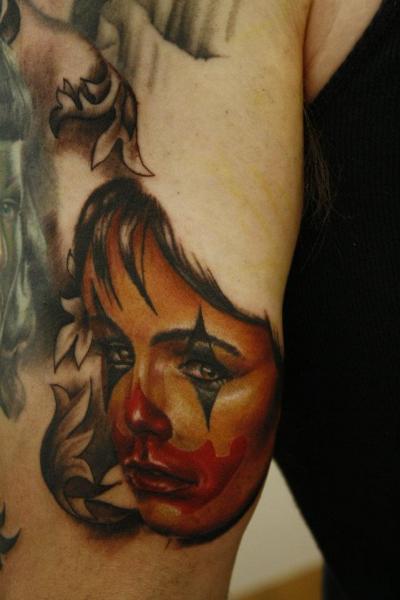 Arm Clown Tattoo by Left Hand Path