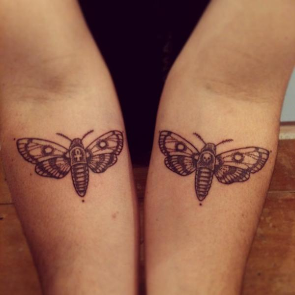 Arm Dotwork Moth Tattoo by Left Hand Path