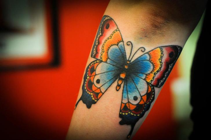 Arm New School Butterfly Tattoo by Left Hand Path