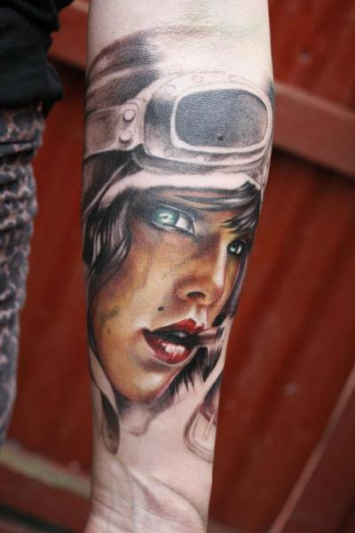 Arm Realistic Women Tattoo by Left Hand Path
