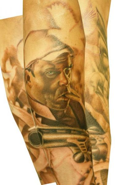 Arm Realistic Gun Tattoo by Left Hand Path