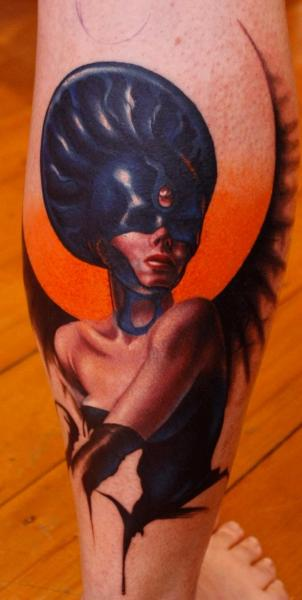 Fantasy Calf Women Tattoo by Left Hand Path