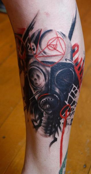 Calf Gas Mask Tattoo by Left Hand Path