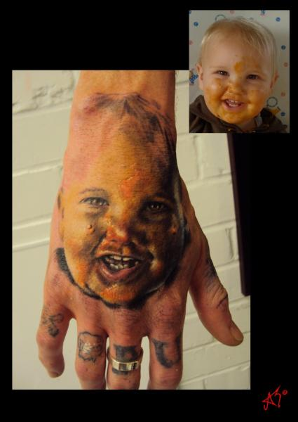 Portrait Realistic Hand Tattoo by Left Hand Path