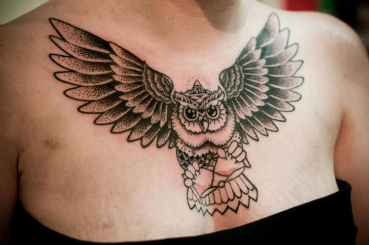 Chest Owl Dotwork Tattoo by Left Hand Path