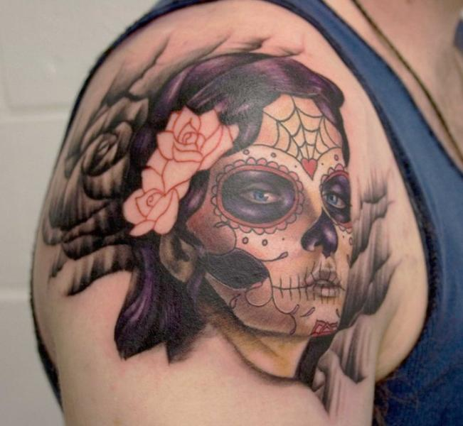 Shoulder Mexican Skull Tattoo by Left Hand Path