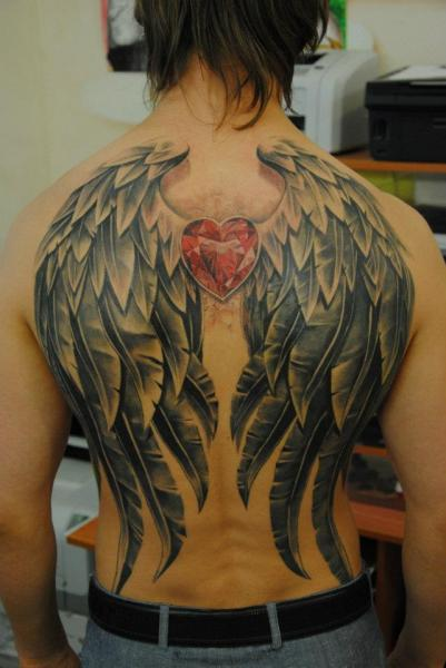 Back Wings Diamond Tattoo by Mai Tattoo