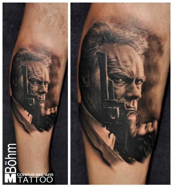 Arm Portrait Gun Clint Eastwood Tattoo by Corpus Del Ars