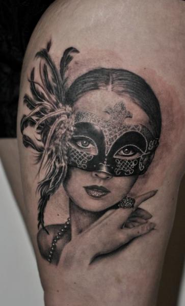 Portrait Mask Thigh Woman Tattoo by Corpus Del Ars