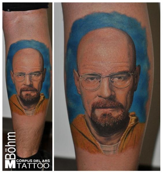 Portrait Calf Walter White Tattoo by Corpus Del Ars