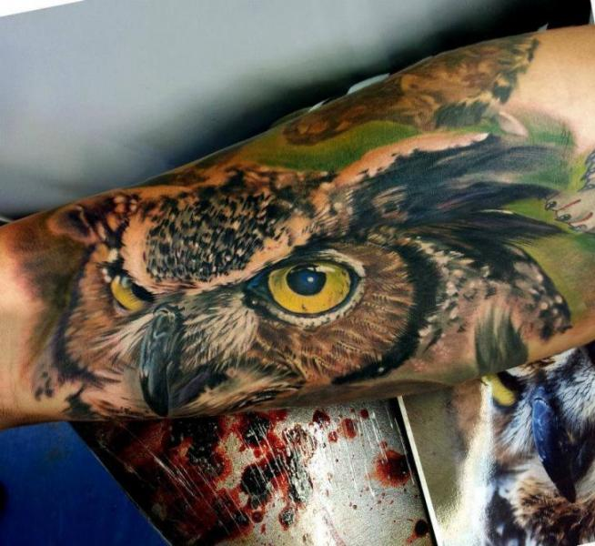 Arm Realistic Owl Tattoo by Matt Jordan Tattoo