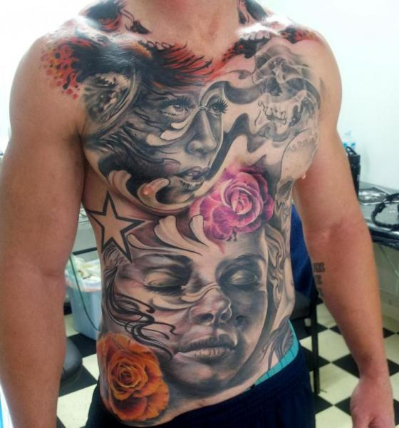 Realistic Chest Belly Tattoo by Matt Jordan Tattoo