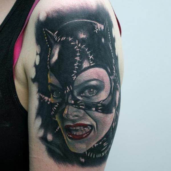 Shoulder Portrait Catwoman Tattoo by Matt Jordan Tattoo