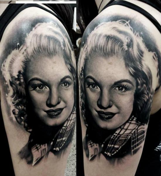 Shoulder Portrait Realistic Tattoo by Matt Jordan Tattoo