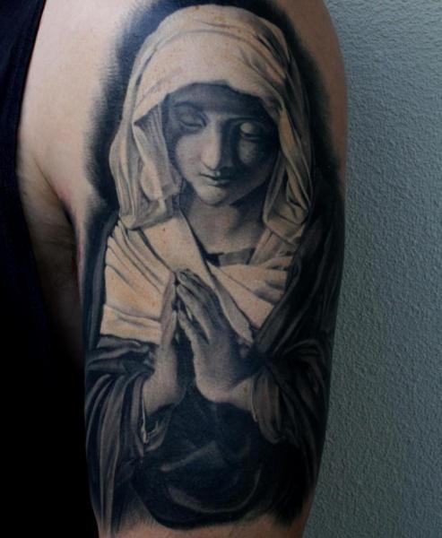 Shoulder Praying Hands Religious Nun Tattoo by Matt Jordan Tattoo