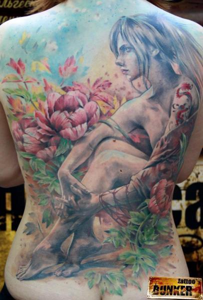 Realistic Women Back Tattoo by Mikky Tattoo