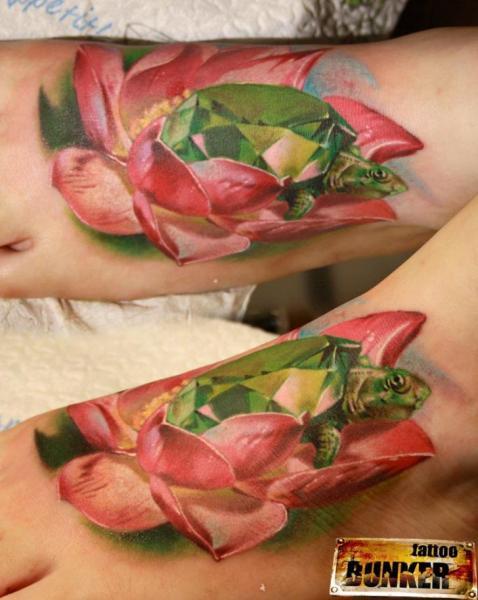 Foot Flower Turtle Diamond Tattoo by Mikky Tattoo