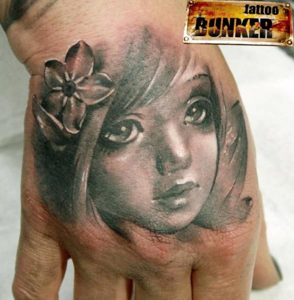 Realistic Hand Children Tattoo by Mikky Tattoo