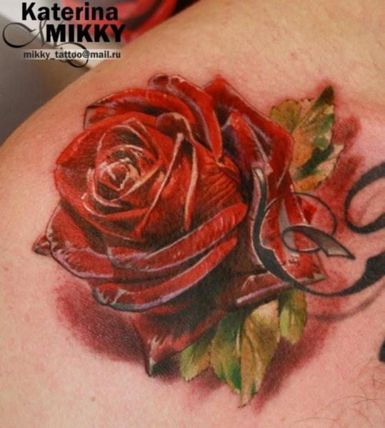 Shoulder Realistic Flower Tattoo by Mikky Tattoo