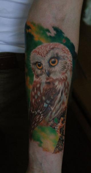 Arm Realistic Owl Tattoo by Negative Karma