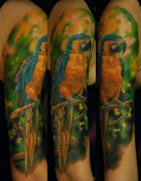 Arm Realistic Parrot Tattoo by Negative Karma
