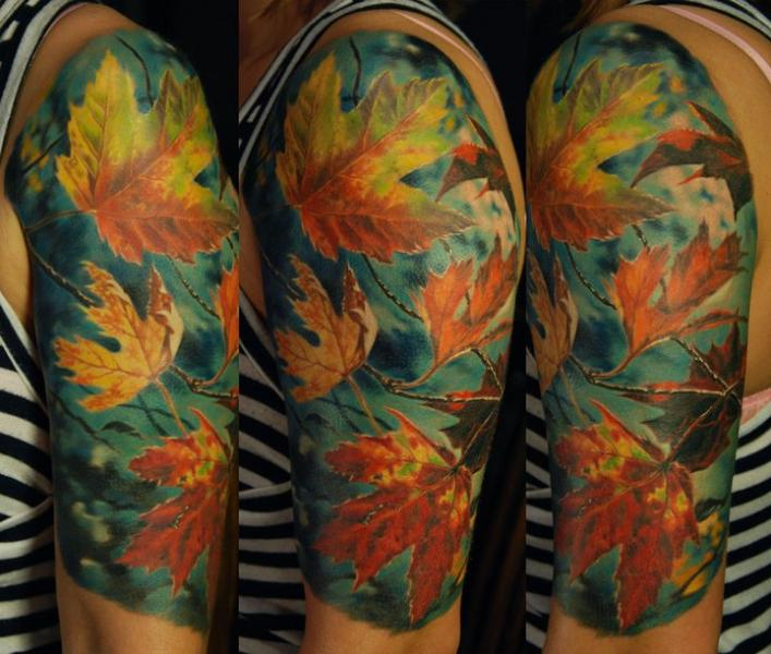 Shoulder Realistic Leaves Tattoo by Negative Karma