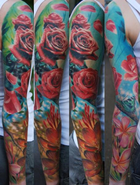Realistic Flower Sleeve Tattoo by Negative Karma