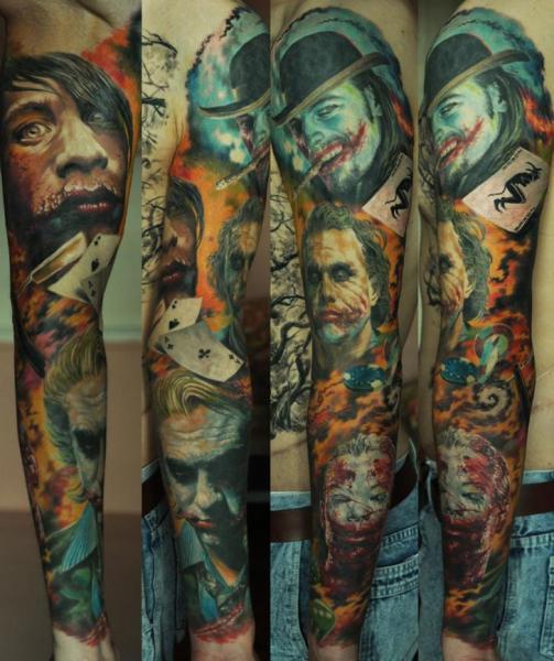 Fantasy Joker Sleeve Tattoo by Negative Karma
