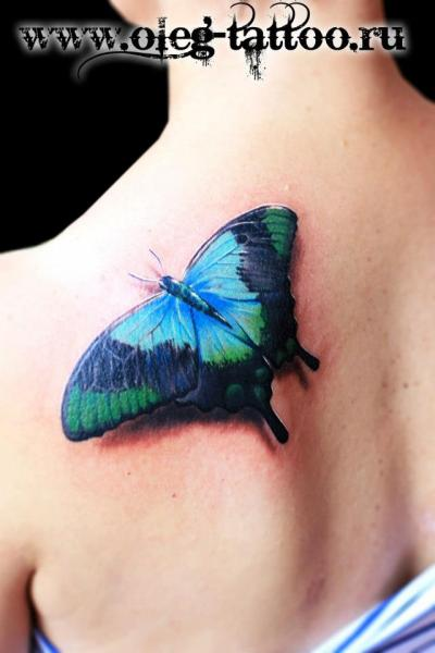 Shoulder Realistic Butterfly 3d Tattoo by Oleg Tattoo