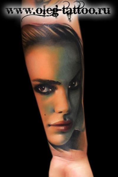 Arm Portrait Realistic Women Tattoo by Oleg Tattoo