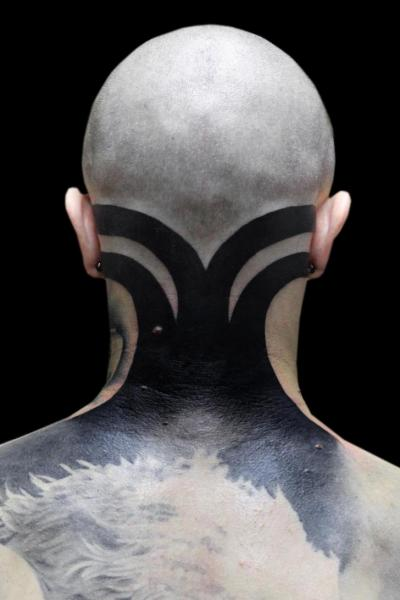 Back Tribal Neck Tattoo by Oleg Tattoo