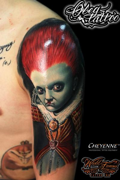 Shoulder Fantasy Character Alice Wonderland Tattoo by Oleg Tattoo