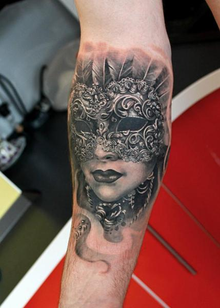Arm Realistic Mask Tattoo by Tattoo X
