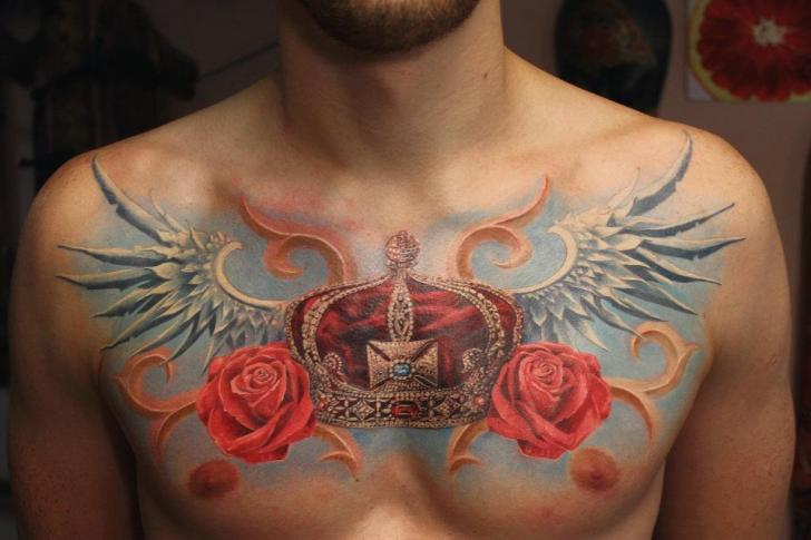 Chest Flower Wings Crown Tattoo by Tattoo X